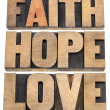 Постер, плакат: Faith hope and love typography