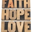 Faith, hope and love typography — Stock Photo