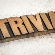 Trivia word in wood type — Stock Photo