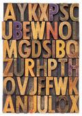 Wood type alphabet — Stock Photo