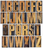 Vintage wood type alphabet — Stock Photo
