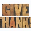 Give thanks in wood type — Stock Photo #31182971