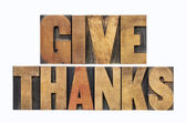 Give thanks in wood type — Stock Photo