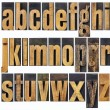 Lowercase alphabet in wood type — 图库照片