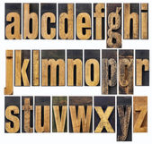 Lowercase alphabet in wood type — Stock Photo
