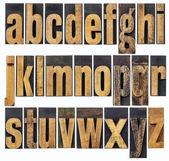 Lowercase alphabet in wood type — Stock Photo