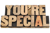 You are special in wood type — Stock Photo