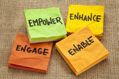 Empower, enhance, enable and engage — Stock Photo