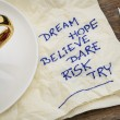 Stock Photo: Dream, hope, believe