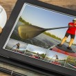 Stand up paddling on digital tablet — Foto de Stock