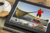 Stand up paddling on digital tablet — Stock Photo