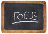 Focus word on blackboard — Stockfoto