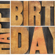 Happy birthday in wood type — Foto Stock