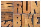 Run, bike, swim - triathlon concept — Stock Photo