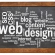 Web design word cloud on blackboard — Foto de Stock