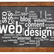 Web design word cloud on blackboard — Stock fotografie