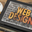 Web design on digital tablet — Stok fotoğraf