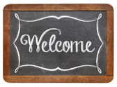 Welcome on slate blackboard — Stock Photo