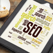 SEO word or tag cloud — Stock Photo