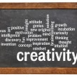 Creativity word cloud word cloud on blackboard — Stock Photo