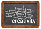 Creativity word cloud word cloud on blackboard — Stock Photo