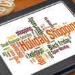 Holiday shopping word cloud — 图库照片