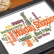 Holiday shopping word cloud — Stock fotografie