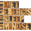 Stock Photo: Diet, sleep, exercise and mindset - vitality