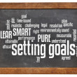 Setting goals word cloud on blackboard — Stock Photo #35625057