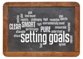 Setting goals word cloud on blackboard — Stock Photo