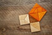 Pythagorean theorem in tangram puzzle — Stock Photo