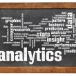 Analytics word cloud on blackboard — Stock Photo
