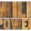 Will power in wood type — Stock Photo
