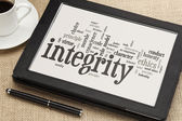 Integrity word cloud on digital tablet — Stock Photo