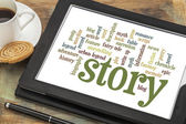 Story and storytelling word clouds — Stock Photo