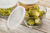 Dinner meal in glass containers — Stock Photo