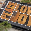 Love, joy and peace on digital tablet — Stock Photo