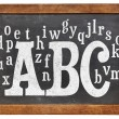 ABC and alphabet on blackboard — Foto Stock