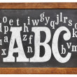ABC and alphabet on blackboard — Zdjęcie stockowe