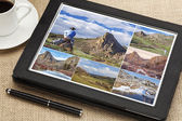 Hiking pictures on digital tablet — Stock Photo