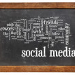 Social media word cloud on blackboard — Stock Photo