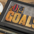 Foto Stock: 2014 goals on digital tablet