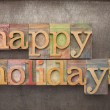 Happy holidays in wood type — Stockfoto