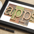 Apps word on digital tablet — Stock Photo