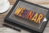 Webinar word on digital tablet — Stock Photo