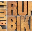 Run, bike, paddle - triathlon concept — Stock Photo
