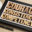 Courage, consistency, competency — Stock Photo
