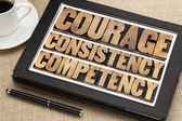 Courage, consistency, competency — Стоковое фото