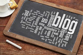 Blog word cloud on blackboard — Stock Photo