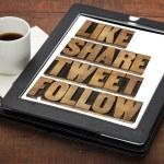 Like, share, tweet and follow — Stock Photo #37700851